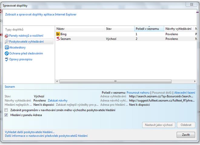 Okno správy rozšíření/vyhledávacích modulů